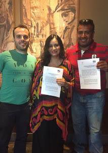 Simone Pisu (Co Fundador de SFT), Carmen Guerrero (Directora de CeDePesca en Perú) y Víctor Cheng ( Director de SFT)